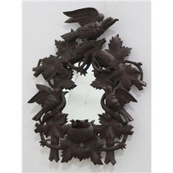Black Forest Heavily Carved Mahogany Mirror