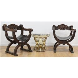 Pr Italian Baroque Style Walnut Curule Form Chairs