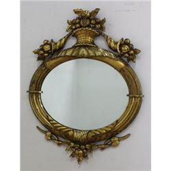 :Carved Oval Giltwood Mirror