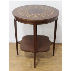 Floral Inlaid Round Mahogany Table