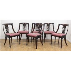 6 Regency Style Needlepoint Dining Room Chairs
