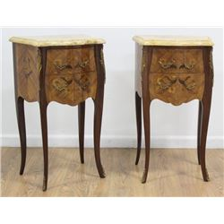 Pair French Inlaid Marble Top Small Commodes