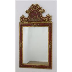 Chinoiserie Red & Gold Wood & Composite Mirror