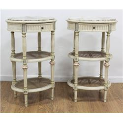3-Tier Paint-Decorated Oval Side Tables