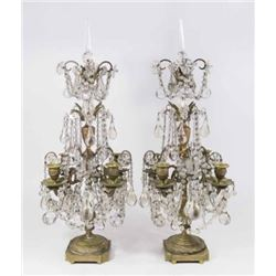 :Pair French Bronze & Crystal 4-Light Girandoles