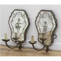 Pair Venetian 2-Arm Gilt Metal Sconces