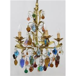 Italian Gilt Metal Floral & Rope Design Chandelier