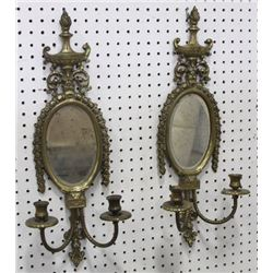 Pair Mirrored Brass Sconces