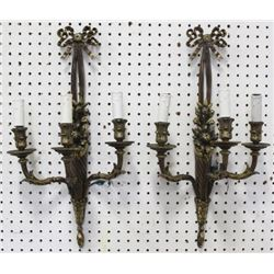Pair 2-Arm Bronze Bowknot Sconces