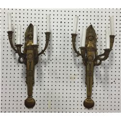 Pair Egyptian Revival Figural 4-Light Wall Sconces