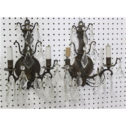 Pair Bronze 2-Arm Sconces with Crystals