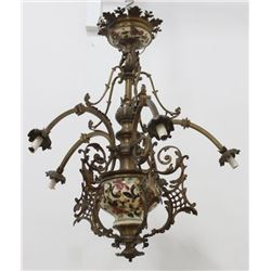 Victorian Brass & Ceramic 6-Light Chandelier