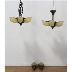4-Pc. Suite of Art Deco Polychromed Metal Lighting