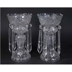 Pair Cut Crystal Lustres
