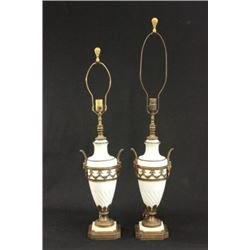 :Pair of Bisque Lamps with Brass Mounts