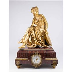 Rouge Marble Clock with Signed Bronze Figure