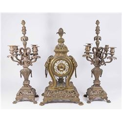 3-Piece French Bronze Clock Set with Lions