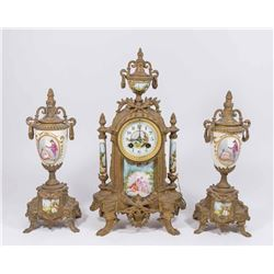 3-Piece French Gilt Metal & Porcelain Clock Set