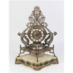 ":A ""Persanne"" Silvered & Gilt Bronze Mantel Clock"
