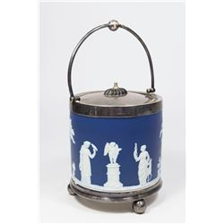 Blue Wedgwood Cracker Jar with Silverplate Top