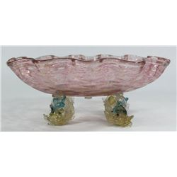Venetian Glass Dolphin Shell-Form Bowl