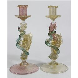 Pair Venetian Gilt Pink & Green Glass Candlesticks