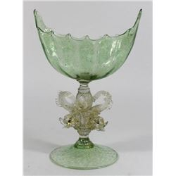 Venetian Gilt Green & Clear Glass Dolphin Compote