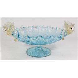 Venetian Gilt Sky Blue Glass Centerpiece