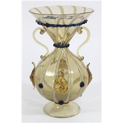 Venetian Gilt Swirl Smoked Glass Vase