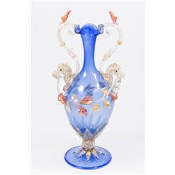 Venetian Gilt Blue & Colored Glass Vase
