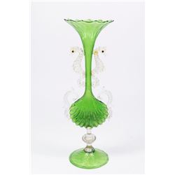 Venetian Gilt Green & Clear Glass Seahorse Vase
