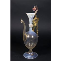 Venetian Gilt Opaline to Clear Glass Ewer