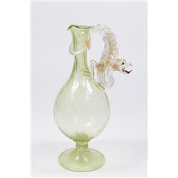 Venetian Gilt Green & Clear Glass Dragon Ewer