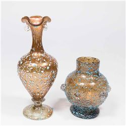 2 Venetian Blue Speckled Aventurine Glass Vases
