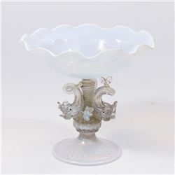Small Venetian Swivel Opaline Glass Dolphin Coupe