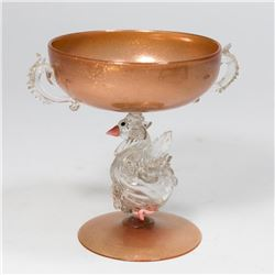 Small Venetian Aventurine Glass Swan Coupe