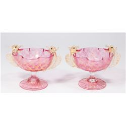 Pair Venetian Gilt Mottled Pink Glass Coupes