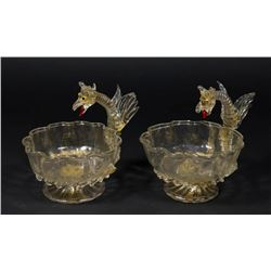 Pair Venetian Gilt Clear Glass Dragon Coupes