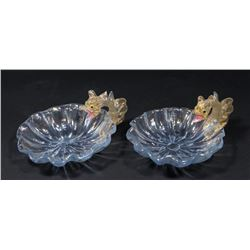 Pair Venetian Gilt Blue Glass Dragon Nut Dishes