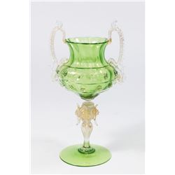 Venetian Gilt Green Glass 2-Handled Coupe