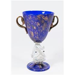 Venetian Gilt Cobalt & Aventurine Glass Coupe