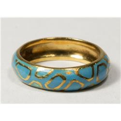 Tiffany 18K Gold & Enamel Ladies Band