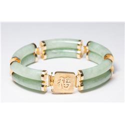 Gold & Jade Double Band Bracelet