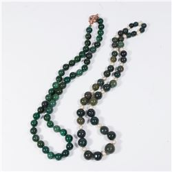 2 Spinach Jade Beaded Necklaces