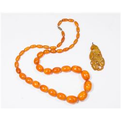 Amber Beaded Necklace & Carved Pendant