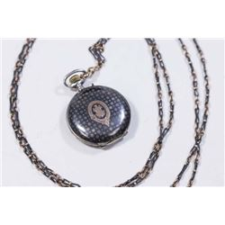 :Silver & 10K Gold Ladies Pocket Watch