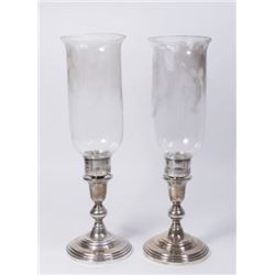 Pair Sterling Silver Reinforced Candleholders