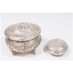 2 Continental Silver Figural Boxes