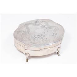 Asian Silver Footed Box with Etched Dragon on Lid