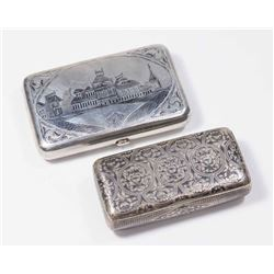 2 Russian Silver & Niello Boxes
